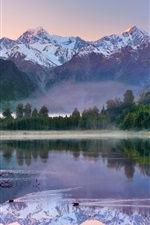 Preview iPhone wallpaper New Zealand morning scenery, mountains, lake, forest, water reflection