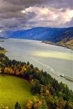 América do Norte, Columbia, Rio, outono, árvores, céu, nuvens, costa