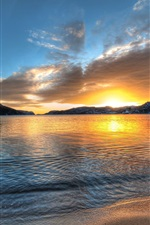 Preview iPhone wallpaper Norway scenery, lake, sunset, mountains