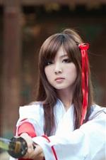 Oriental girl samurai, sword