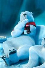 Preview iPhone wallpaper Polar bear drinking Coca-Cola