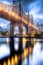 iPhone fondos de pantalla Puente de Queensboro, Roosevelt Island, Manhattan, luces de la noche de la ciudad