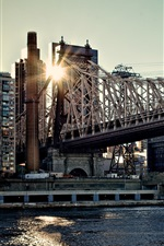 Queensboro Bridge, buildings, sunset, New York, USA