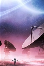 Preview iPhone wallpaper Radio telescopes, space exploration