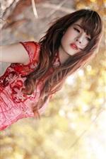 Preview iPhone wallpaper Red cheongsam asian girl