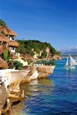iPhone fondos de pantalla Destino de vacaciones, costa, mar, cabañas, veleros, agua azul y el cielo