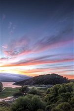 Preview iPhone wallpaper Road, sunset, trees, river, landscape