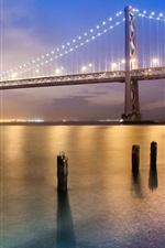 Preview iPhone wallpaper San Francisco bridge at night, bright lights