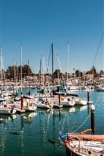 미리보기 iPhone 배경 화면 산타 크루즈, 캘리포니아, USA, 베이, 요트, 항해, 선박, 보트