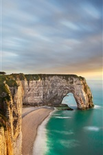 Preview iPhone wallpaper Seashore, rock arch, cliff, sunset