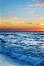 Preview iPhone wallpaper Sunset sea beach, waves, blue, orange sky
