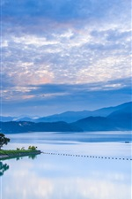 Preview iPhone wallpaper Taiwan, Nantou, morning sunrise, mountains, blue sky, lake reflection