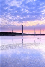 Preview iPhone wallpaper Taiwan, sea shore, windmills, sunset evening, water reflection, sky clouds