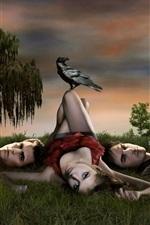 Preview iPhone wallpaper The Vampire Diaries, three vampires