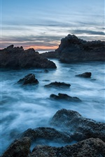 USA, California, ocean, beach, stones, sunset, blue
