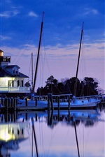 Preview iPhone wallpaper USA, Maryland, lighthouse, bay, night, blue sky, water reflection