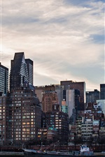 Preview iPhone wallpaper United States, New York City, skyscrapers, buildings, ship, morning