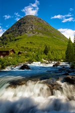 Preview iPhone wallpaper Valldal in Norway, waterfall, mountain cabins, trees