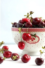 Preview iPhone wallpaper A cup of cherries, red color