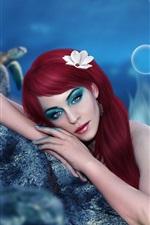 Preview iPhone wallpaper Art fantasy girl, mermaid, makeup, red hair, underwater