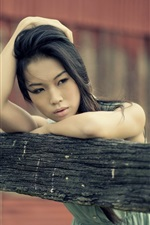 Preview iPhone wallpaper Asian girl thinking