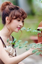 Preview iPhone wallpaper Asian pure girl check mailbox
