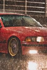 Aperçu iPhone fond d'écranBMW E36 Touring couleur rouge, nuit pluie