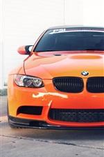 미리보기 iPhone 배경 화면 BMW M3 E92 오렌지 자동차의 전면 뷰