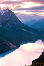 Preview iPhone wallpaper Canada, Banff National Park, Lake, mountains, sunset