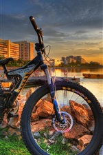 Preview iPhone wallpaper City, coast, bike, sunset