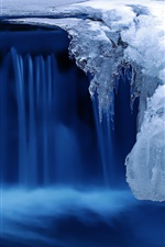 Preview iPhone wallpaper Cold snow winter, ice, river, blue