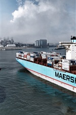 Preview iPhone wallpaper Container, ship, cargo, port, smoke