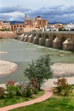 Preview iPhone wallpaper Cordoba, Andalusia, Spain, the river Guadalquivir, bridge, house