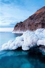 Preview iPhone wallpaper Dead sea coast, white salt, blue sea