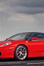 Preview iPhone wallpaper Ferrari F430 supercar, red, cloudy sky