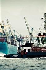 Preview iPhone wallpaper Germany, Hamburg, port, ship, sea