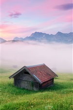 Preview iPhone wallpaper Germany scenery, the Alps, fog, houses