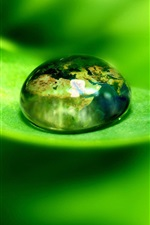 Preview iPhone wallpaper Green leaf with water drops close-up, blurred background