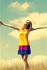 Preview iPhone wallpaper Happiness girl, rainbow umbrella, warmth nature, sky clouds