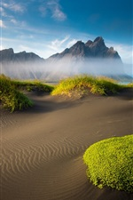 Preview iPhone wallpaper Iceland beautiful scenery, mountains, beach, moss, sand, sea, clouds