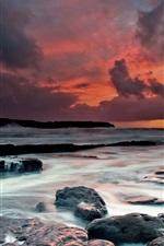 Preview iPhone wallpaper Ireland, west coast, the Atlantic Ocean, beach, stones, dusk