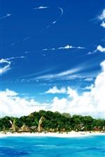 미리보기 iPhone 배경 화면 바다에서 섬, 해변, 푸른 하늘, 흰 구름