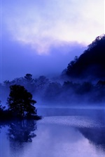 Preview iPhone wallpaper Japan, Fukushima, lake Akimoto, evening, trees, water reflection, mist, blue