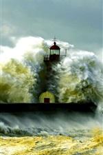 Farol, tempestade, mar, costa, ondas
