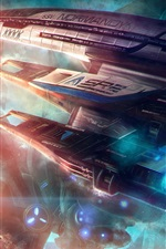 Preview iPhone wallpaper Mass Effect, Normandy SR2 Spaceship