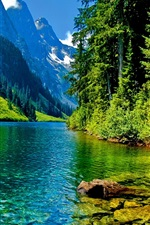 Preview iPhone wallpaper Nature landscape, mountains, river, trees, rocks