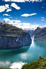 Norway, Geiranger Fjord, water, mountains