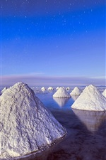 Preview iPhone wallpaper Piles of salt, Dead Sea, blue sky