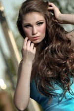 Preview iPhone wallpaper Pretty long hair girl sitting at chair