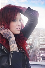 Preview iPhone wallpaper Red hair tattoos girl